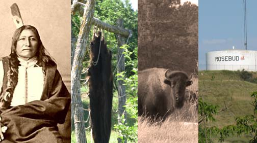 Chief Spotted Tail, a buffalo hide tanning, a buffalo, the Rosebud water tank